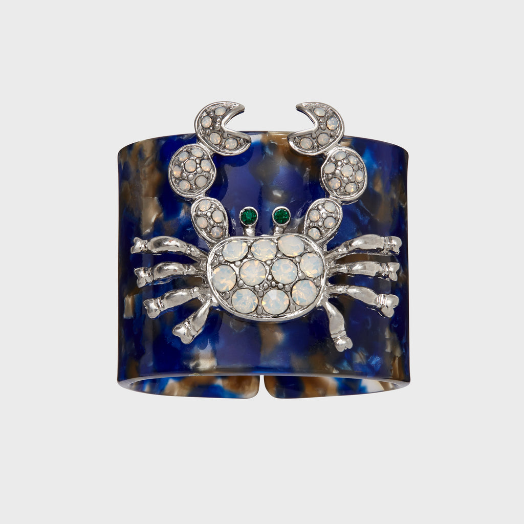 Crab blue tortoiseshell resin napkin rings, set of four
