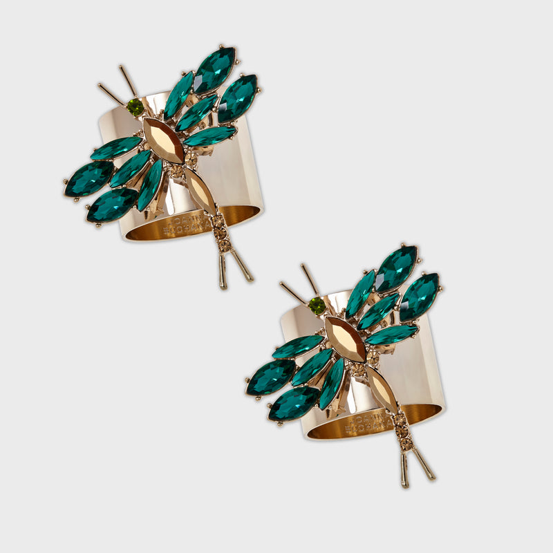 Dragonfly napkin rings, emerald, set of two