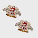 Classic bee napkin rings, ruby, set of two