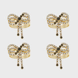 Sparkle bow skinny napkin rings, set of four