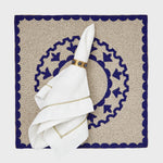 Moroccan tile placemat, taupe with blue