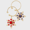 Snowflake wine charms, jewel tones