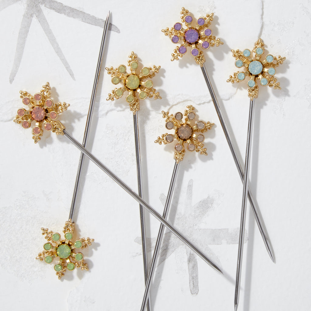 Snowflake cocktail picks, pastel