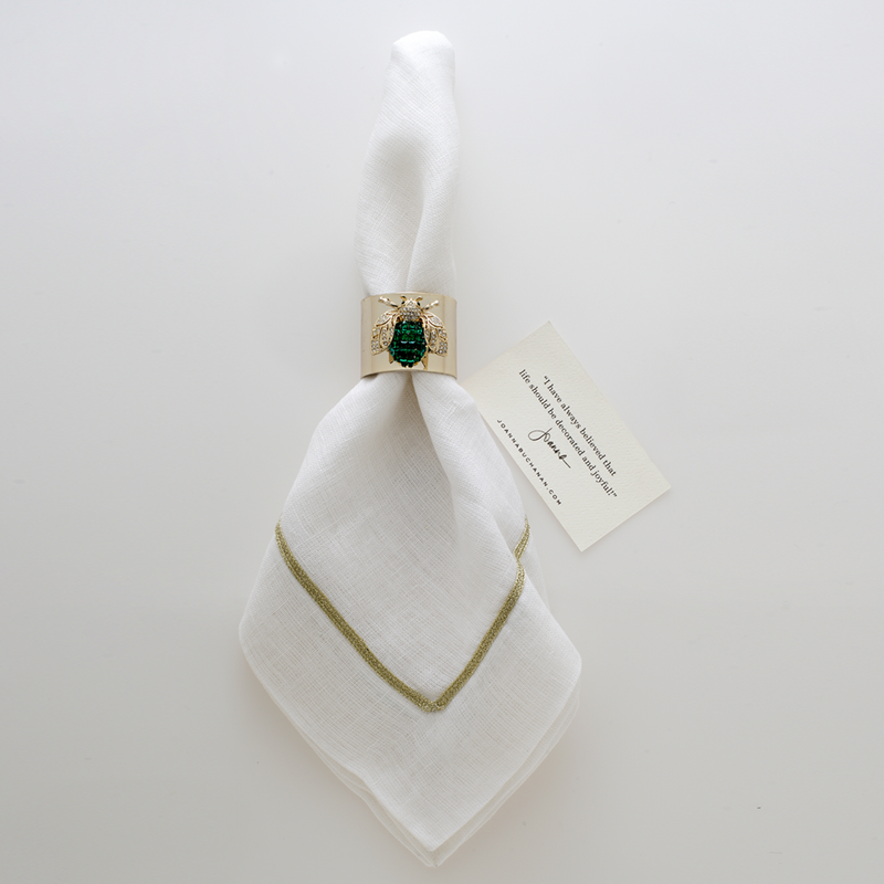 Sparkle bee napkin rings, emerald, set of two