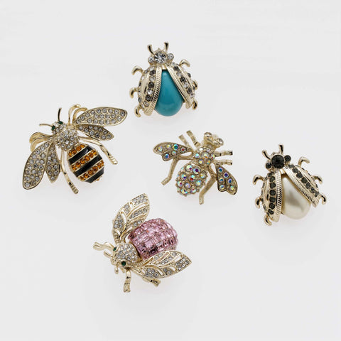 Jeweled insect clip set, tiger's eye