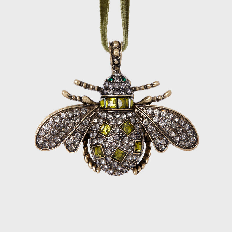 Classic bee hanging ornament, olive