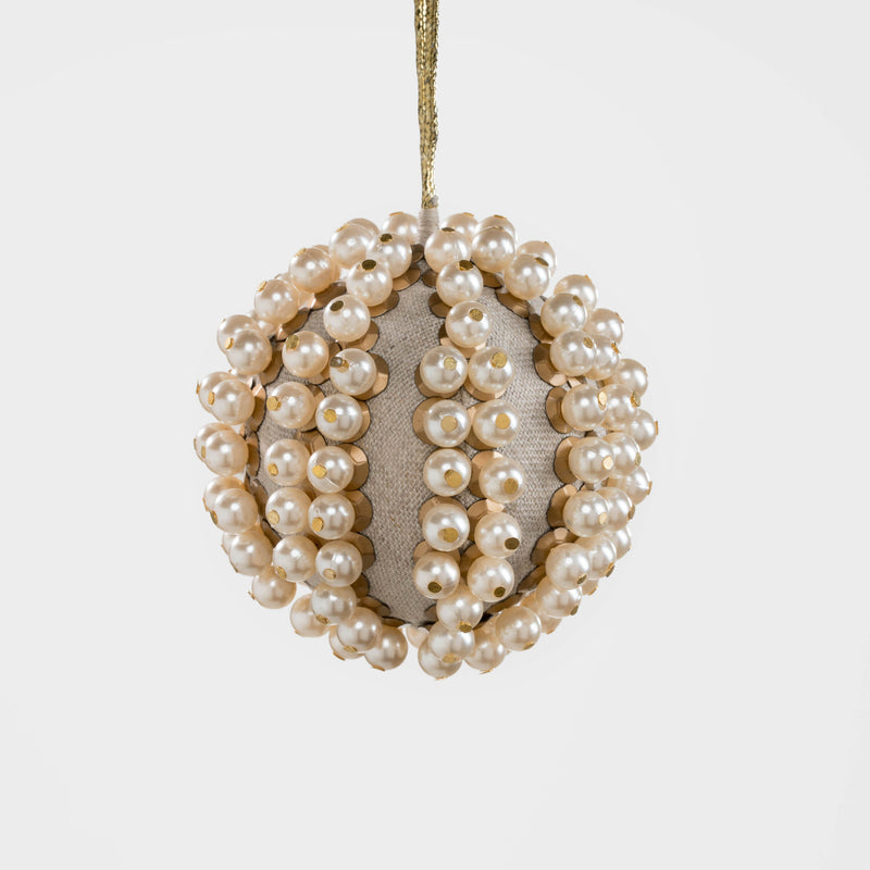 Pearl and linen ball ornament, linen