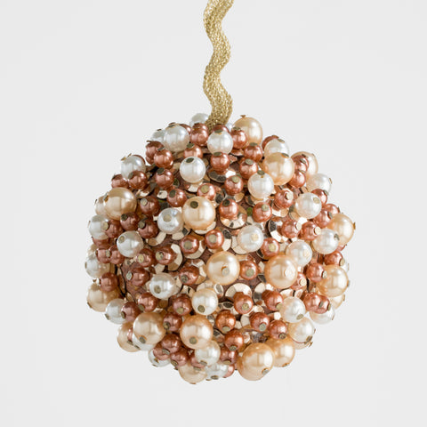 Marbleized porcelain hanging ornament, blue