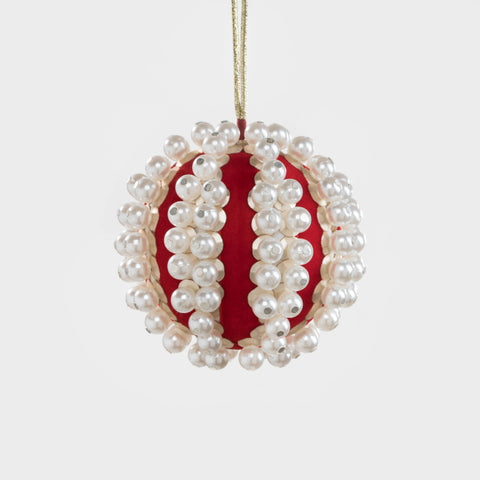 Pearl and velvet ball ornament, emerald