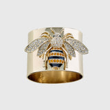 Stripey bee napkin rings, set of two