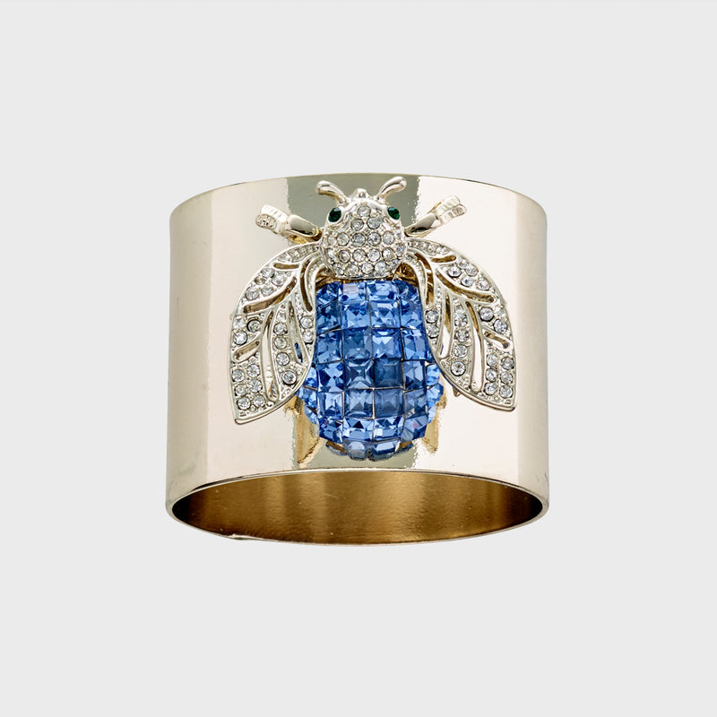 Sparkle bee napkin rings, blue, set of two