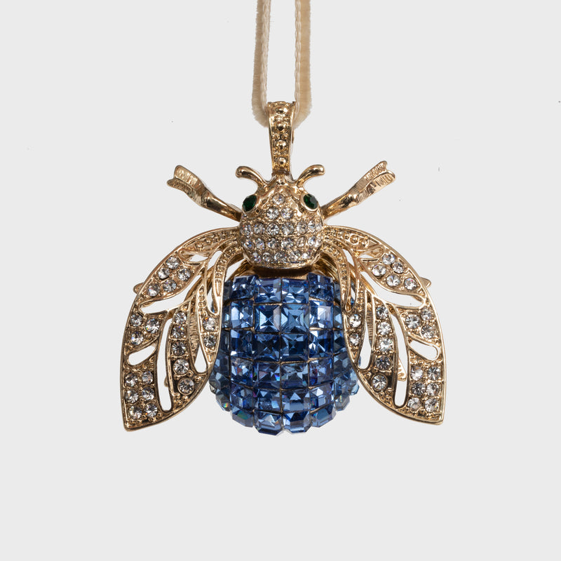 Sparkle bee hanging ornament, periwinkle