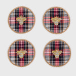 Embroidered bee plaid coasters, set of four