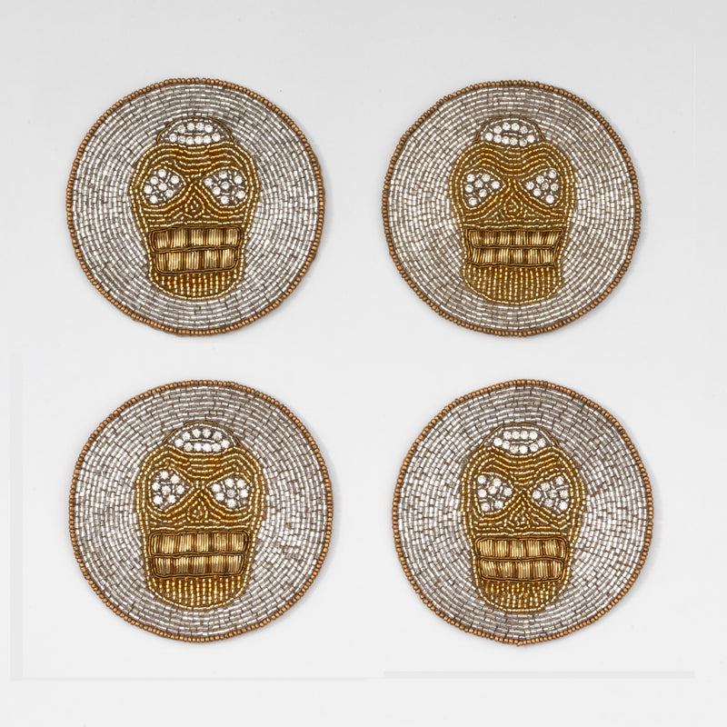 Skull coasters, set of four
