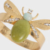 Etched wing bug skinny napkin rings, lemon jasper, set of four