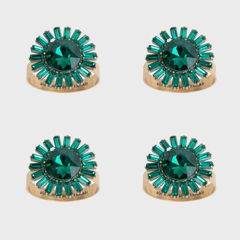 Giant gem skinny napkin rings, emerald, set of four