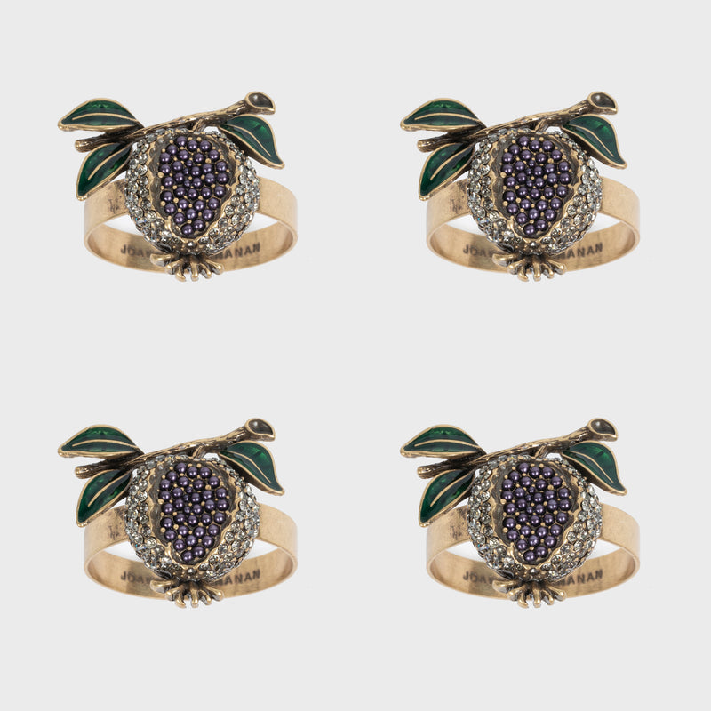 Pomegranate skinny napkin rings, set of four