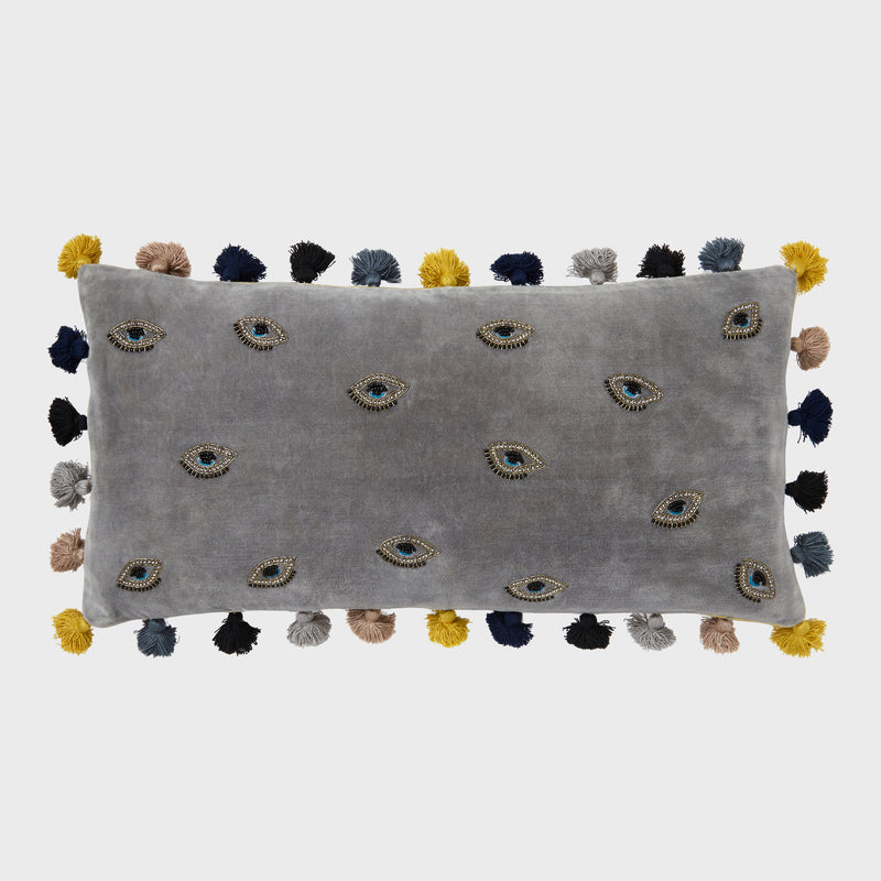 Embroidered evil eye pillow, grey cotton velvet