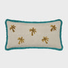 Palm tree embroidered pillow, natural linen