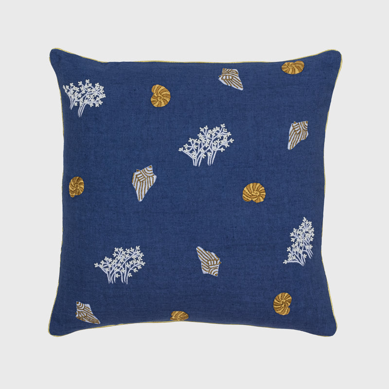Sealife pillow, indigo