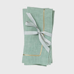 Gold trim dinner napkins, sea foam, set of two