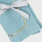 Gold trim dinner napkins, duck egg blue, set of two