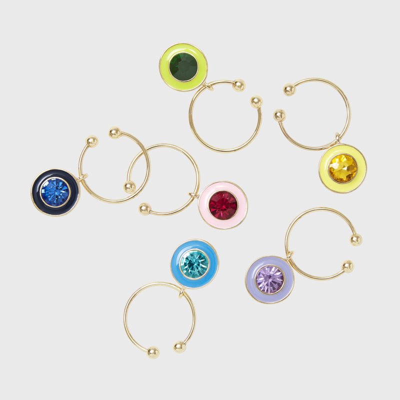 Enamel gem wine charms
