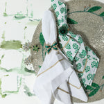 Enamel bow skinny napkin rings, green, set of four