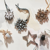 Star hanging ornament, hematite/crystal