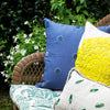 Embroidered oversize pillow, natural linen with citron