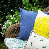 Embroidered oversize pillow, natural linen/ citron