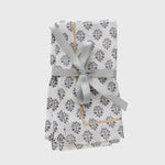 Printed leaf dinner napkin, grey, set of two