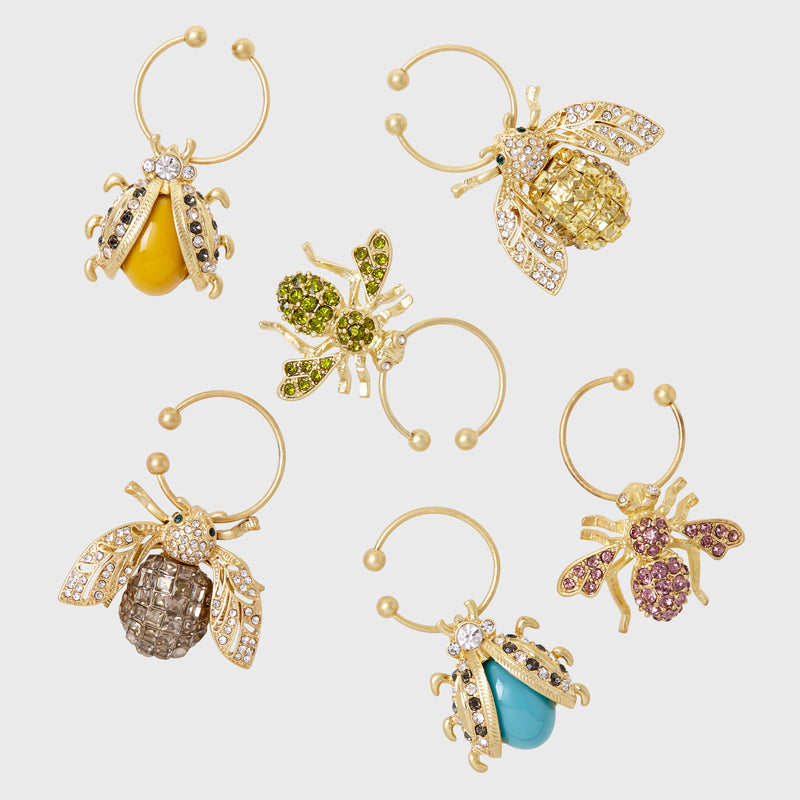 Bedazzled bee wine charms