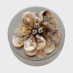 Shell flower large jewelry box, antique silver