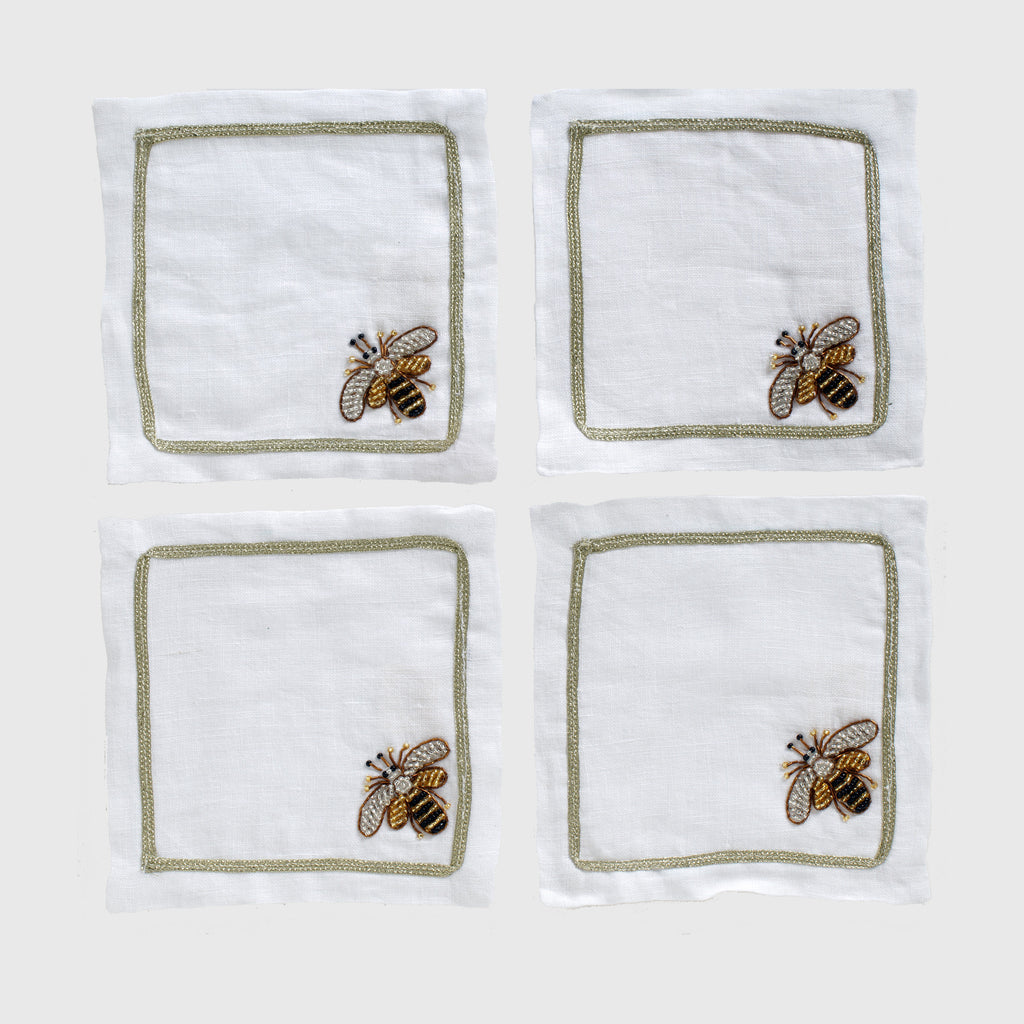 Stripey bee cocktail napkins, set of four