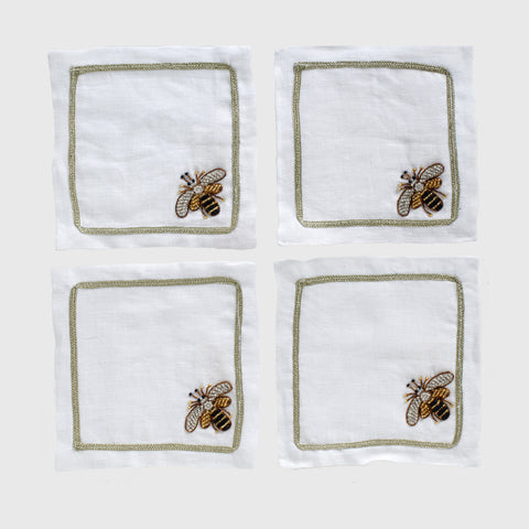 Stripey bee linen dinner napkins, flax, set of two