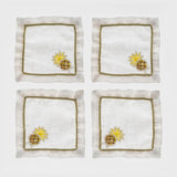 Pineapple cocktail napkins, white, set of four