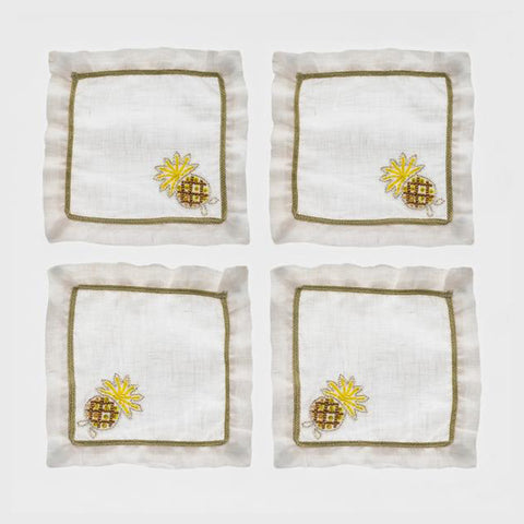 Pineapple cocktail napkins, flax, set of four