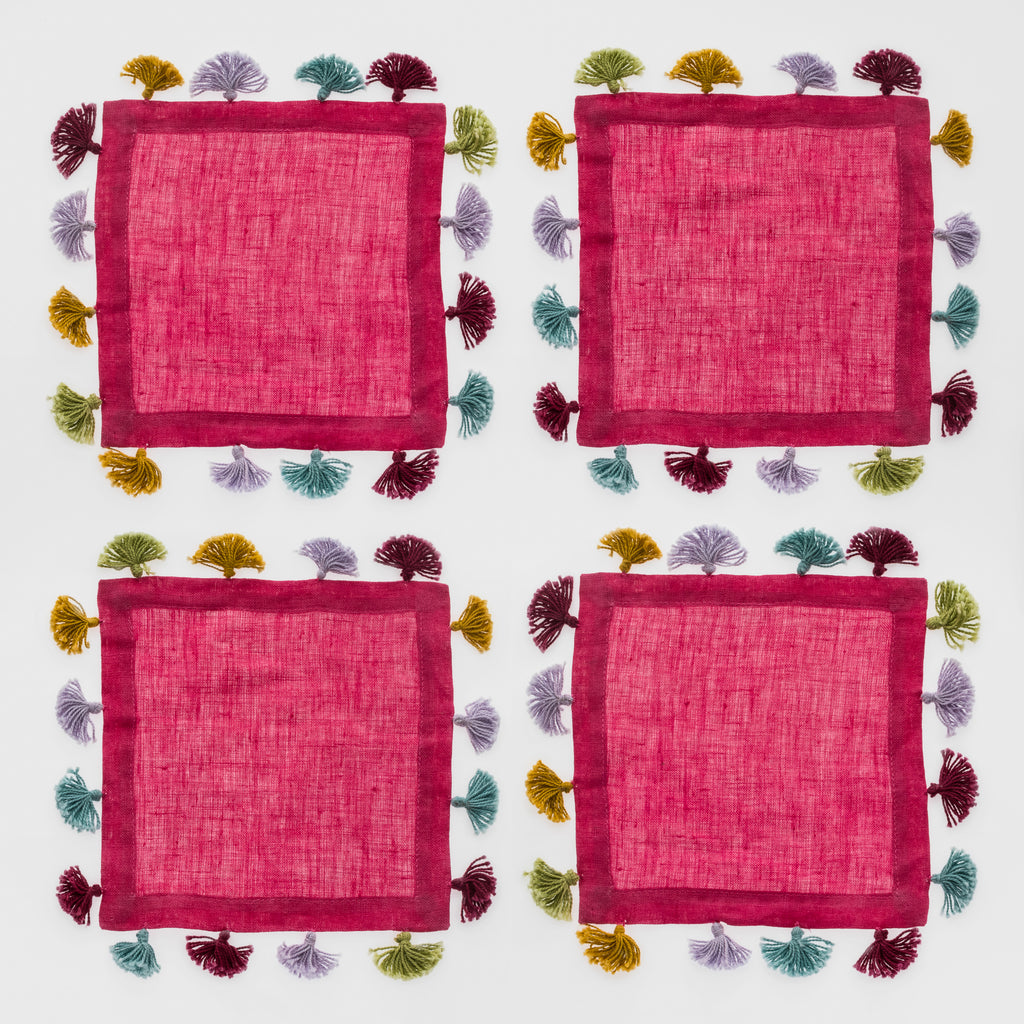 Tassel cocktail napkins, hot pink, set of four