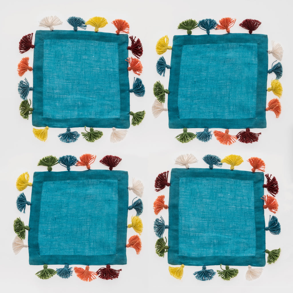 Tassel cocktail napkins, turquoise, set of four
