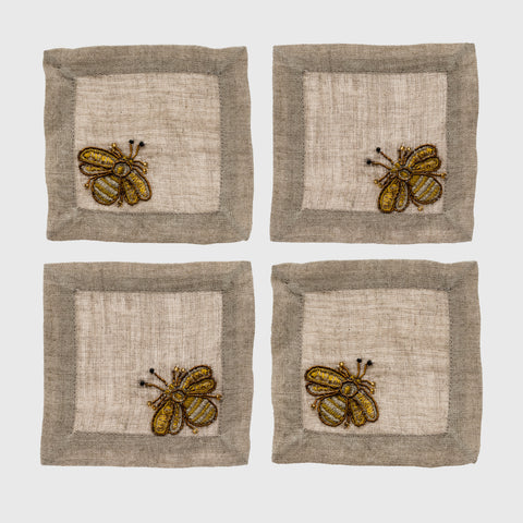Stripey bee coasters, set of four