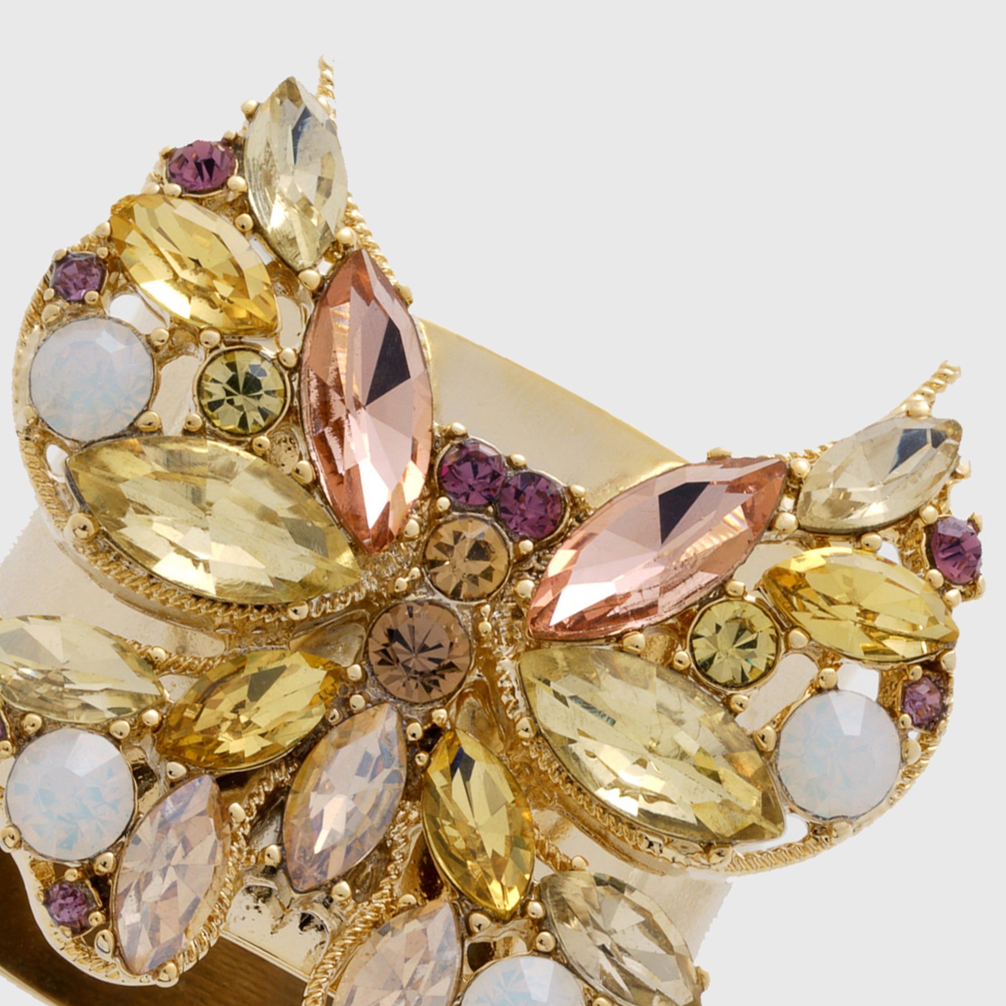 Jeweled Butterfly Napkin Rings Yellow Set Of Two