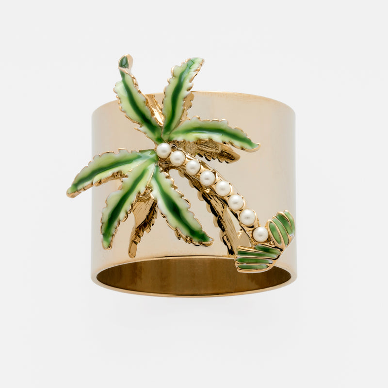 Palm tree napkin rings, set of two