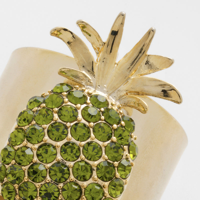 Pineapple napkin rings, olive, set of two