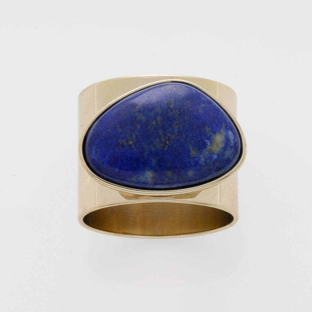Gilt edge shell napkin rings, lapis lazuli, set of two