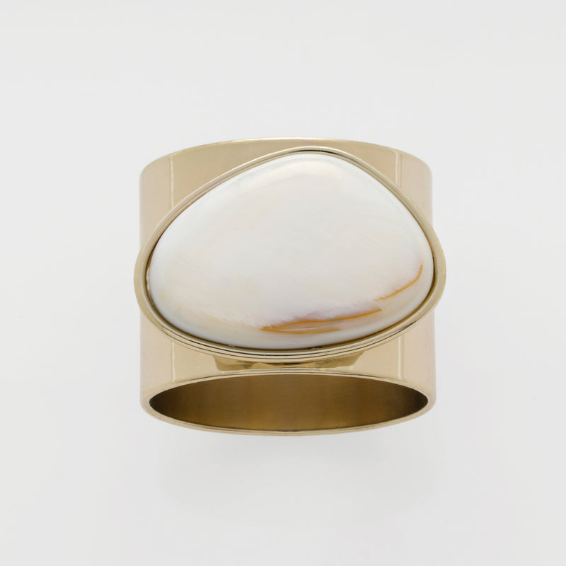 Gilt edge shell napkin rings, mother of pearl, set of two