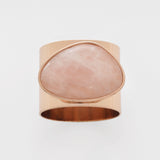 Gilt edge shell napkin rings, rose quartz, set of two