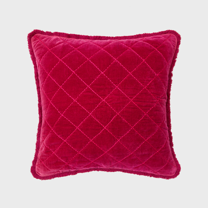 Quilted velvet fringe pillow, berry