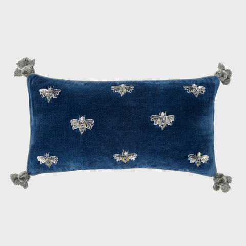 Natural linen quilted tassel pillow, indigo