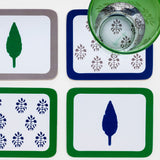 Leaf and tree print  everyday coasters, set of four